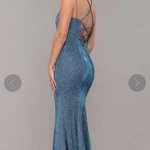 Long Metallic Blue Prom Dress